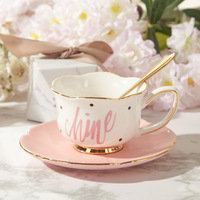 Золотой послеобеденный чайный набор с блюдцем, кофейная чашка, чайный горшок, чайный поднос, подарок подружки невесты