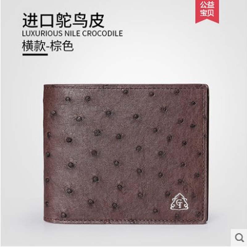 Gete 2019 nouveau portefeuille en cuir d'autruche importé pour hommes. Portefeuille horizontal en cuir pour hommes - 5