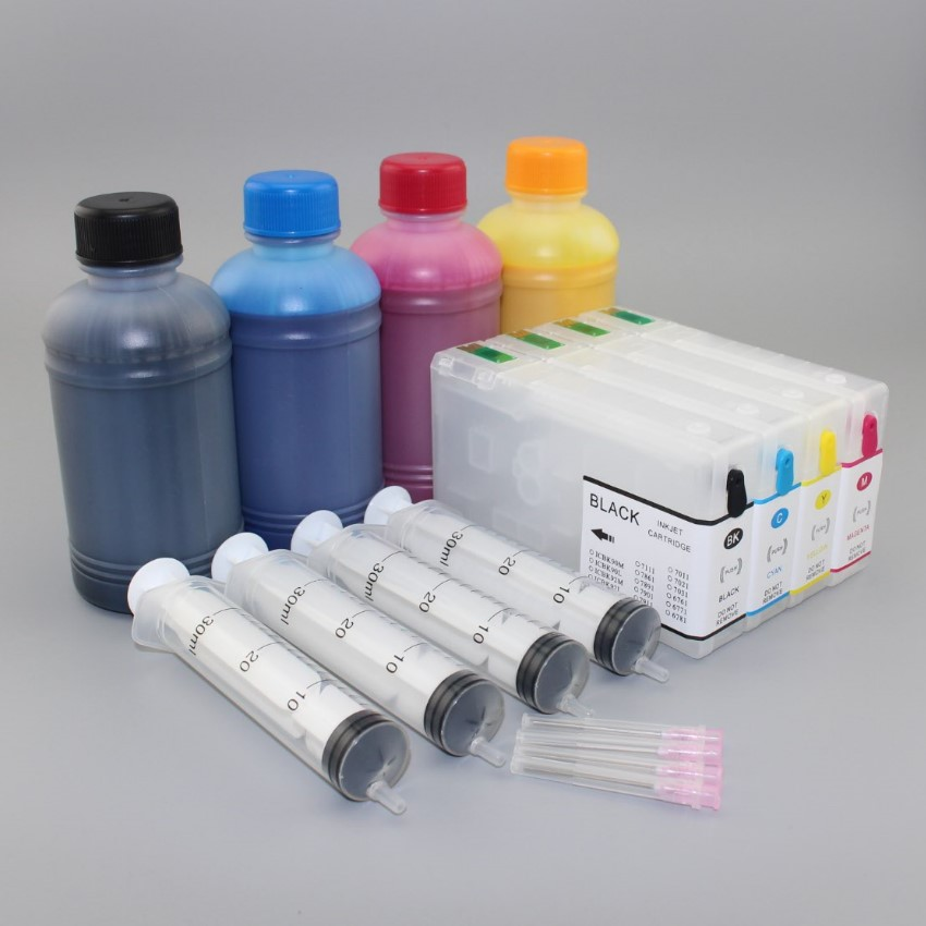 4*250ML Bottled ink plus Empty Refillable Cartridge with ARC chips  suit for T7011-T7014 series