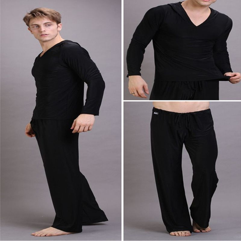 Hot Summer Bath Pajama Set Men Sexy Pajamas Sleepwear Silk Pijama Hombre Hooded Man Bathing Pajamas Tracksuit Pants And Tops