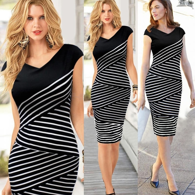 f48401753bf3 2015 New Women Summer V Neck Tunic Vintage Striped Dress Elegant Business  Bodycon Pencil Dresses Work Wear Black White P897