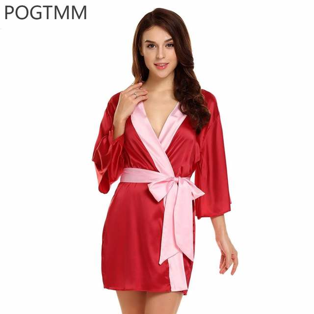 Summer Sexy Kimono Satin Bathrobe for Bridesmaid Dressing Gown Bride Short  Bath Robe Women Night Sleepwear 0b241a043