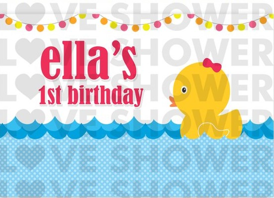 custom Rubber Duck Flag Blue Water Birthday backdrops High quality Computer print party photo studio background