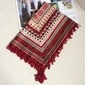 Cuadrado Grande de La Bufanda de Las Mujeres de BOHO de La Borla Hijab Impreso Sarga Raya Algodón Foulard Pañuelo de Color Brillante Nuevo 110x110 cm
