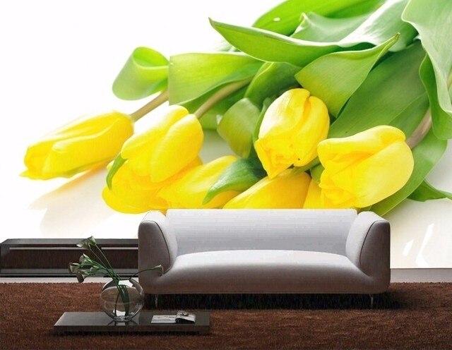 Gele Muur Slaapkamer : Beibehang d fotowand papier stereoscopische gele tulpen