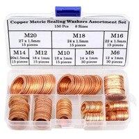 150Pcs 8 Sizes Copper Metric High Conductivity Corrosion Resistant Copper Washer Assortment Set M6 M8 M10