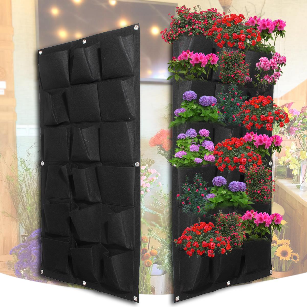 Bolsos de plantación 18 Bolsillos Maceta Colgante Negro Pared - Productos de jardín