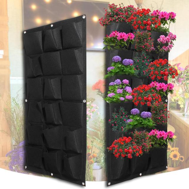 Planting Bags 18 Pockets Pot Black Hanging Vertical Wall Garden Planter  Flower Home Indoor Outdoor Balcony