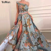 New Sleeveless One Shoulder Sexy Evening Dresses 2019 Diamond Embroidery Fashion Luxury Formal Royal Evening Gown For Women