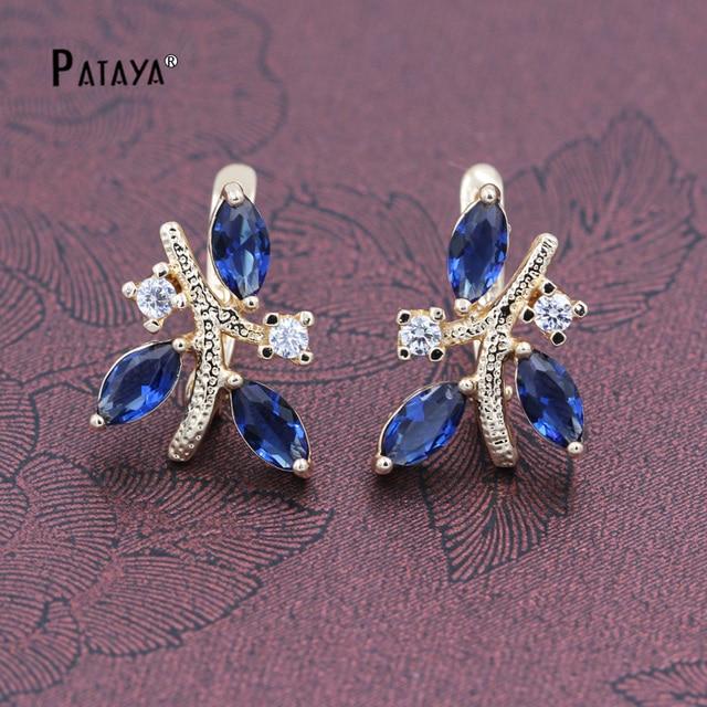 pataya 585 rose gold ohrringe frauen wassertropfen blau natrliche zirkonia indien schmuck hochzeiten feinen accessoires kronleuchter - Kronleuchter In Indien