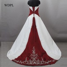 Buy burgundy and white wedding dress and get free shipping on ...