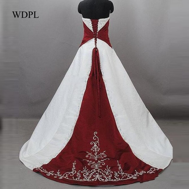 Strapless Bridal Gown Embroideries Burgundy White Wedding Dress Long ...