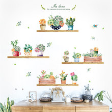 Garden plant bonsai home decor wall stickers for living room wall sticker flower kitchen PVC wall decals DIY decoration(China)