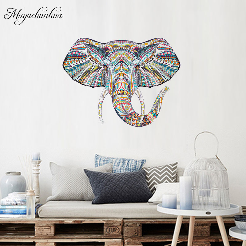 US $6.23  Colorful Elephant Wall Sticker Family Decal for Living Room  Bedroom decor Home Decoration Accessories Art Stickers-in Wall Stickers  from ...