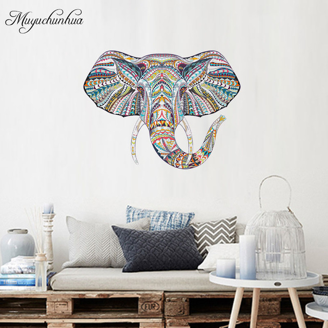 kleurrijke olifant muursticker familie sticker voor woonkamer slaapkamer decor home decoratie accessoires art stickers