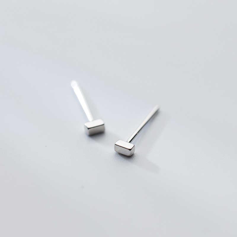 70574d8c53c 2017 Minimalist 925 Sterling Silver Short Bar Stud Earrings Tiny Rectangle  Geometric Square Stud Earrings For