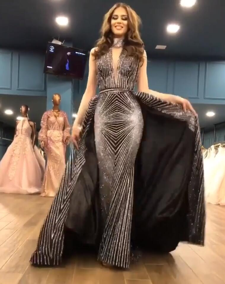 Glitter Sequin Black Detachable Skirt Prom Dresses 2K19 Sexy V Neck Arabic Mermaid Evening Gowns Long Dubai Formal Party Dress