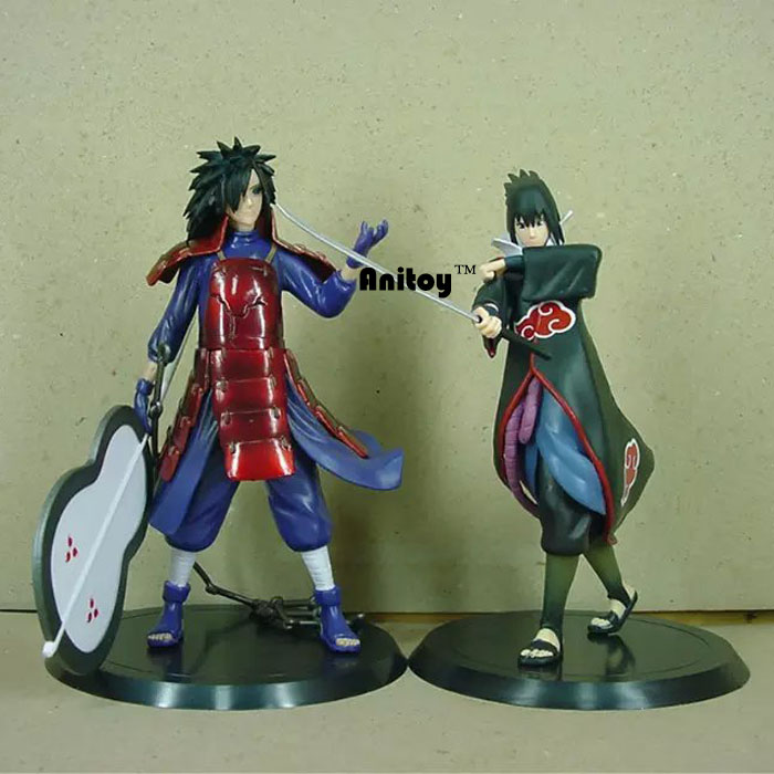 купить Anime Naruto Uchiha Madara Uchiha Sasuke PVC Action Figures Collectible Model Toys 2pcs/set KT065 по цене 953.32 рублей