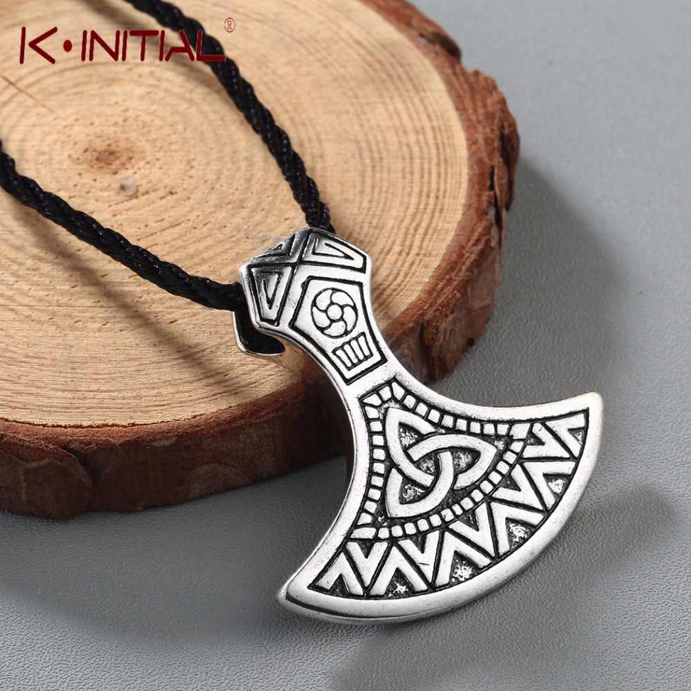 Kinitial Thor Hammer Axe Jewelry Valknut Odin 's Symbol of Norse Necklaces Slavic Viking Warriors Men Axe Pendant Necklace