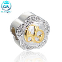 925-Sterling-Silver Golden Flower Charm Crystal Fit Necklace Olympic Charm Bracelet For Women GW Brand Jewellery E037