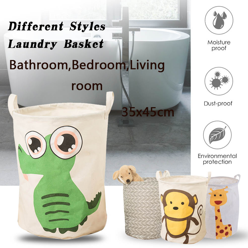 Image 2 - Dobrável dobrável cesta de lavanderia grande capacidade bin balde  lavanderia cesta lona suja organizador de roupas com alça bin  1pcCestos de armazenamento