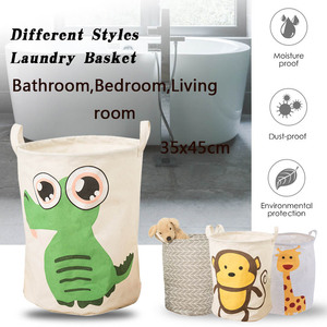 Image 2 - Folding Collapsible Laundry Basket Large Capacity Bin Bucket Laundry Hamper Canvas Dirty Clothes Organizer With Handle Bin 1pc