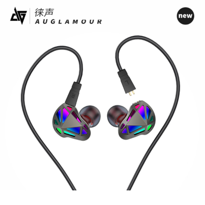 AUGLAMOUR RT-1 Earphone 1DD+1BA Dual Driver Stereo Bass Sport Earbuds Geometry Headset with Mic for iPhone xiaomi Samsung Mp3 syllable s1 stereo earphone headphones headset 3 5mm earphone earbuds for xiaomi huawei iphone samsung with mic and remote