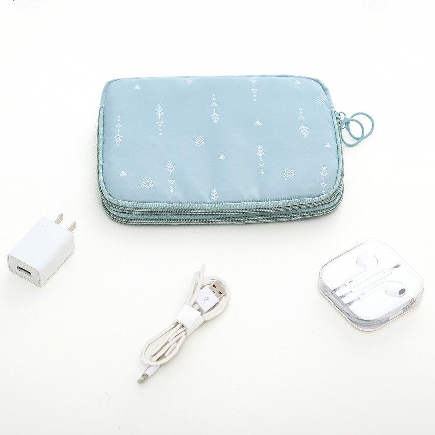 Yesello полиэстер двойная молния бумажник держатель для карт Дата линия SD карты USB кабель цифровых устройств сумка