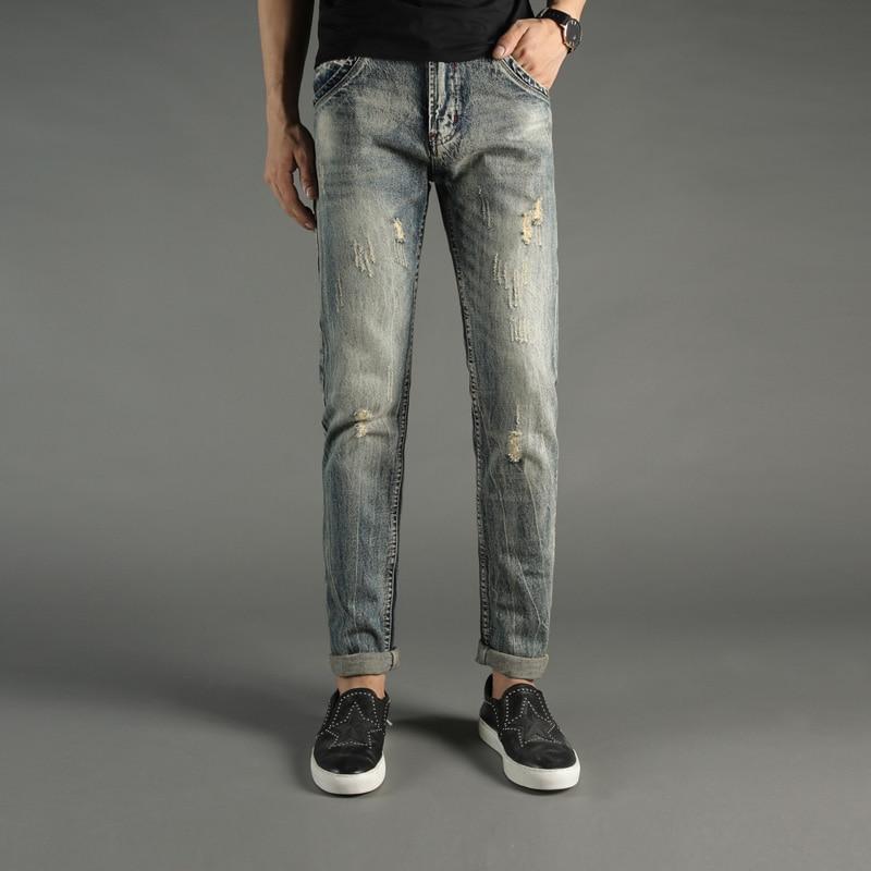 2017 Newly Autumn Winter Fashion Mens Jeans Italian Style Pocket Slim Fit Denim Biker Jeans Men Baplein Brand Ripped Jeans Pants