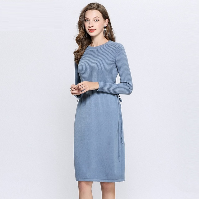 67b66407692d Winter Fashion ladies Elegant knitted dress cultivating midi dress slim fit  party dress beautiful temperament vestidos L-XXXXXL