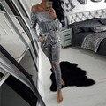 Ganso veludo brilhante fora do ombro barra pescoço túnica macacão feminino sexy oco out casual strapless geral bodysuit veludo N031
