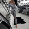goose velvet shining off shoulder tunic jumpsuit female slash neck sexy hollow out casual overall strapless velour bodysuit N031