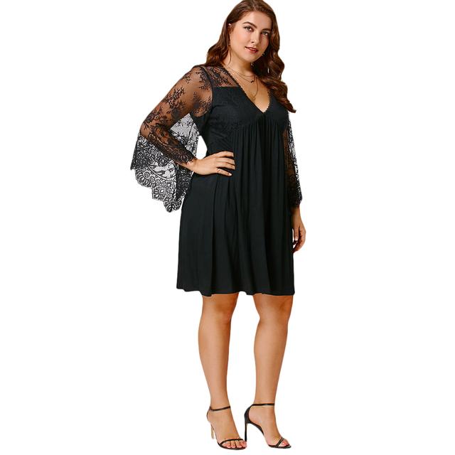 Plus Size Tunic Dress Flare Sleeve Deep V Neck Lace Insert Knee Length Women Dress Vestidos