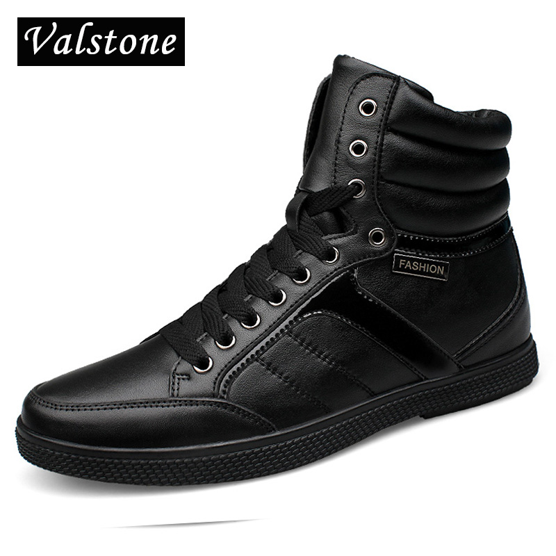 Valstone Quality Men's High Top Genuine Leather Shoes Cold Winter warm snow boots Luxury lace-ups sneakers flats Plus size 38-48 lace panel cold shoulder asymmetrical plus size tee