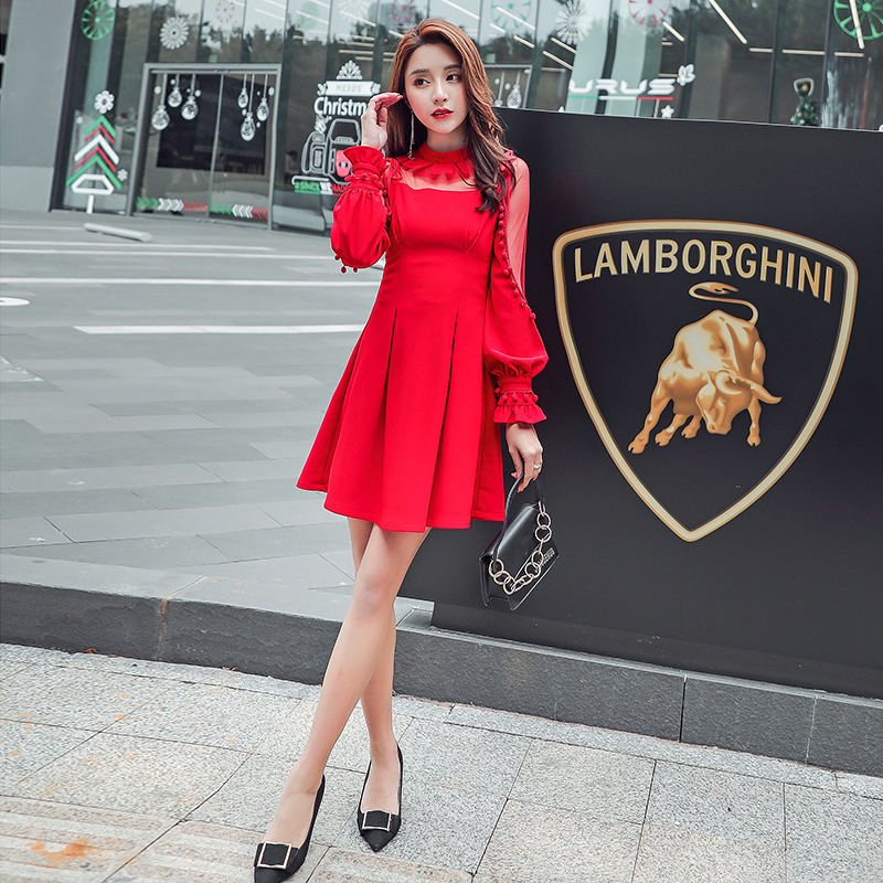 JIBAIYI Red Transparent Mesh Lantern Sleeve Elegant Dress Women Sexy Tassel Bodycon Ladies Party Dresses Spring Female Vestidos