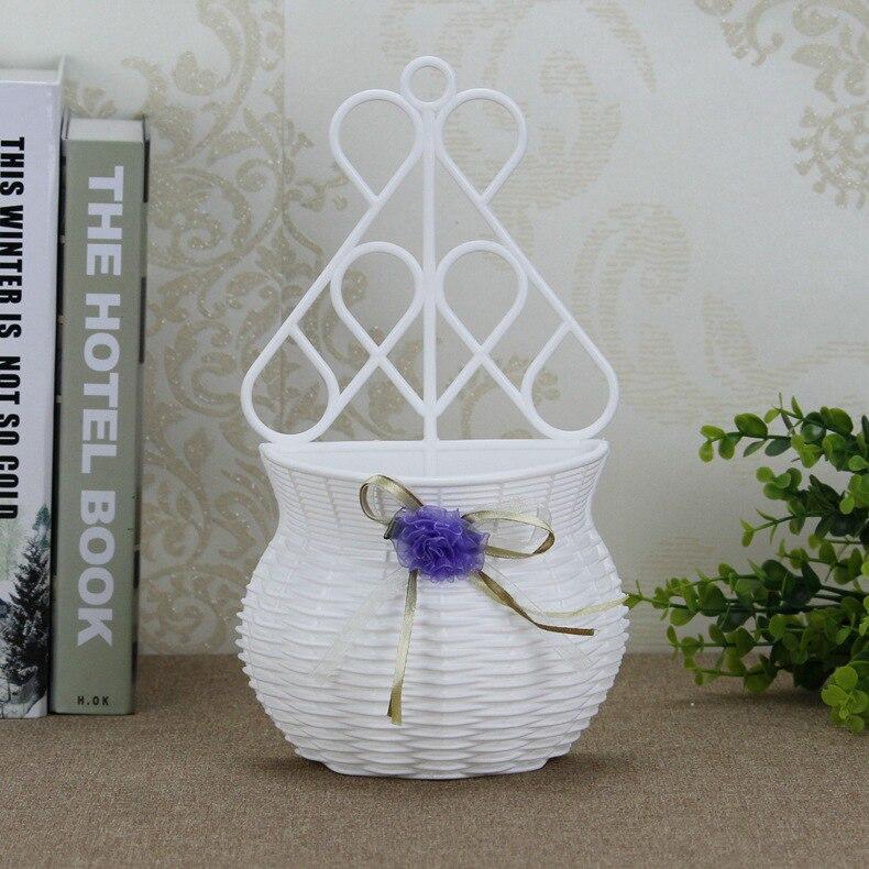 Högkvalitativ vit Häng på väggen Plastblomma Vase Heminredning - Trädgård