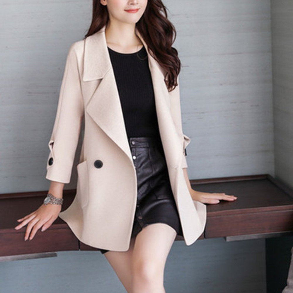 Casual Women Woolen Coat Single Breasted Turn-down Collar Winter Long Sleeve Female Wool Blend   Trench   Coat Winterjas Mujer