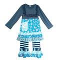 Floral BIB e listras calças plissado roupas atacado barato 100% de malha de algodão outono roupas de meninas
