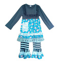 Popular Cheap China Girls Western Clothing Floral Knitted Cotton Bib Top Stripes Ruffle Pants Baby Girls Boutique Outfits F016