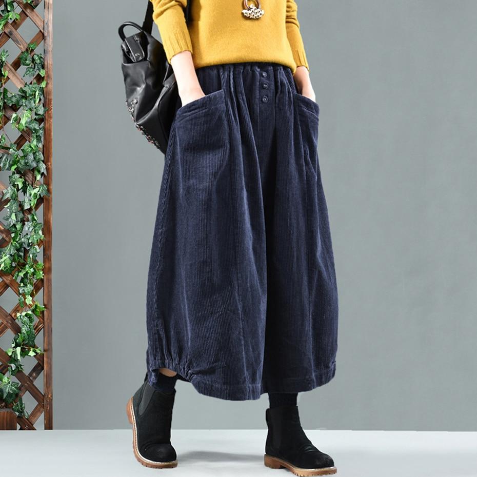 Women Corduroy Skirt Retro Vintage Fashion Thick For Autumn Winter Long Loose Elastic Waist Skirt Buttons Oversized AZ15192317