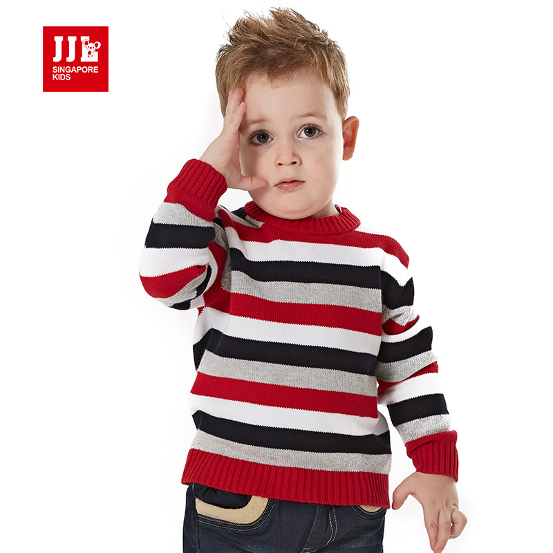 baby boy mixed color pullover striped causal kids knitted o neck sweater children knitwear winter brand