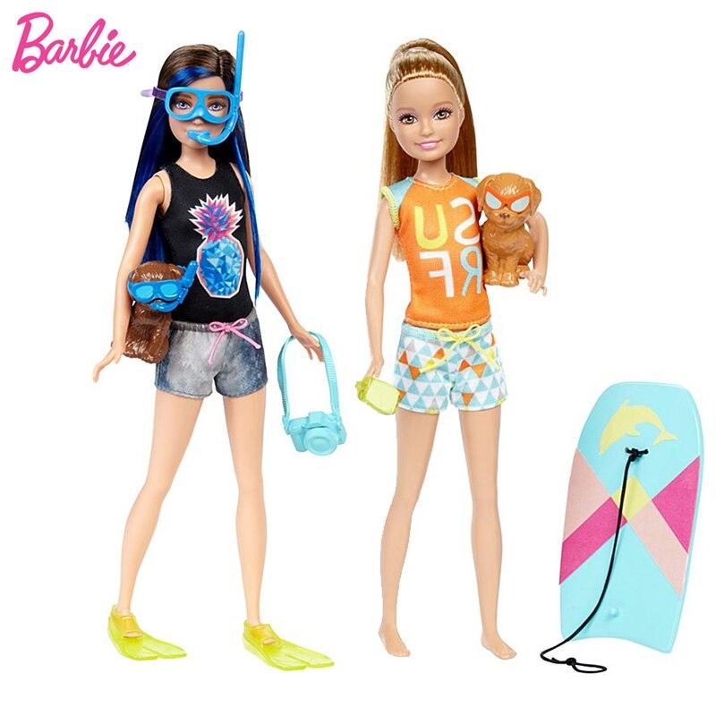Original Barbie Dolls Skipper Dolphin Magic Adventure Doll With Clothin Babies Boneca Brinquedos Toys For Children Birthday Gift