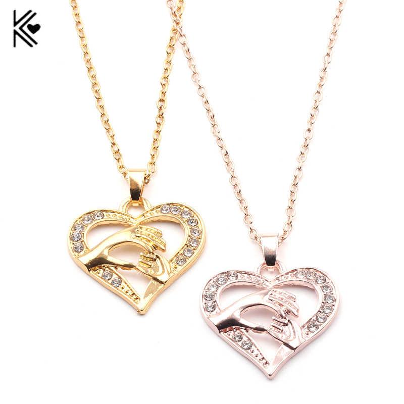 Ожерелье с подвеской в виде сердца и кристаллов ручной работы для мамы