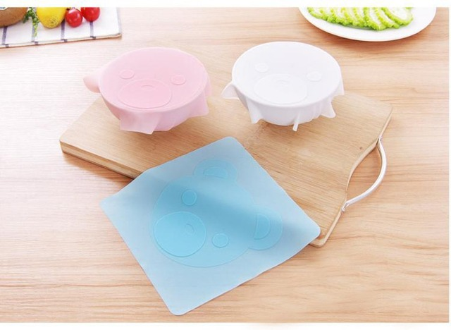 4 pieces Multifunction  Silicone Saran Wrap Reusable Cling Film Refrigerator Food Storage Cover Kitchen Vacuum Lid Sealer