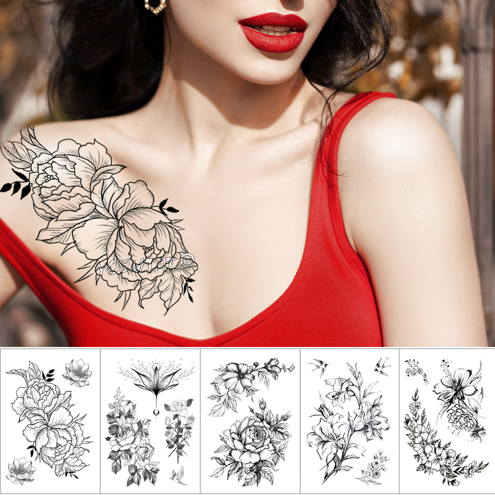 Waterproof Temporary Tattoo Sticker Sketch line peony pattern tatto Water Transfer Rose body art fake arm tatoo For Women