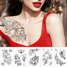Waterproof Temporary Tattoo Sticker Sketch line peony pattern tatto Water Transfer Rose body art fake arm tatoo For Women(China)