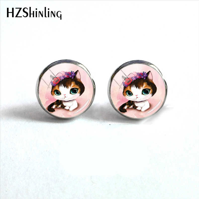 Cute Cartoon Kitten Anime Style Glass Dome Round Earrings Jewelry Little Cats Baby Stainless Steel Earrings for Ladies Girls
