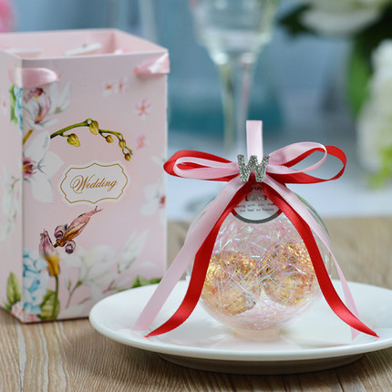40sets New Plastic Candy Gift Box with paper gift bag Wedding Party Bonbonniere Candy Packing Bag