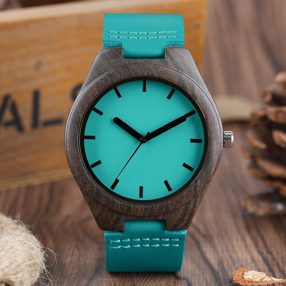 Cool Creative Wood Watches Men's Natural Sandalwood Bamboo Quartz Wrist Watch Blue Genuine Leather Wristwatch Reloj de madera classic style natural bamboo wood watches analog ladies womens quartz watch simple genuine leather relojes mujer marca de lujo