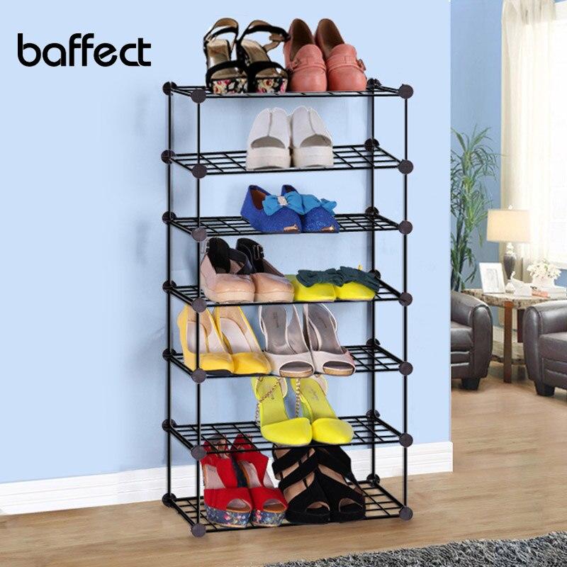 Baffect New DIY Sapato Rack Fácil Montagem Ferro Multi-camadas Prateleira de Sapatos De Armazenamento Organizador Titular Suporte Ajustável Suporte de Sapato